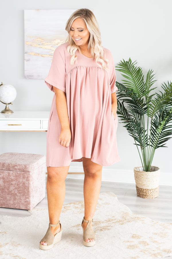 dress, short, short sleeve, flowy, longer back, pink, solid, vneck, pockets, comfy