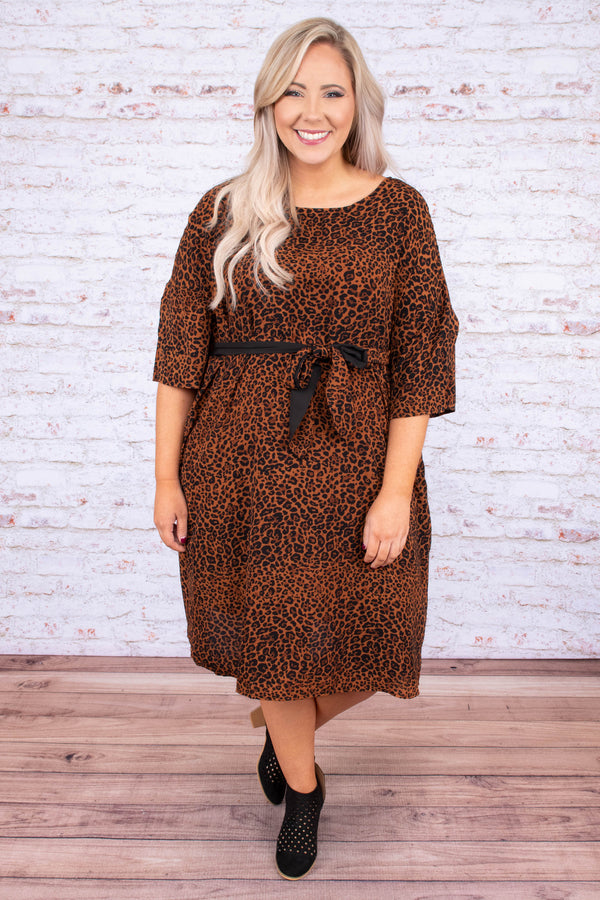 dress, short, short sleeve, belted waist, pockets, loose, rust, black, leopard, comfy, fall, winter