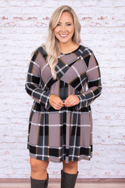 dress, short, long sleeve, babydoll, flowy, mocha, white, black, plaid, comfy, fall, winter