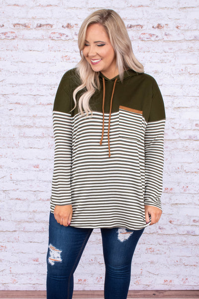 hoodie, long sleeve, hood, drawstrings, chest pocket, curved hem, loose, white, olive, stripes, colorblock, brown details, comfy, outerwear