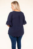 shirt, short sleeve, bell sleeves, scalloped hems, navy, comfy