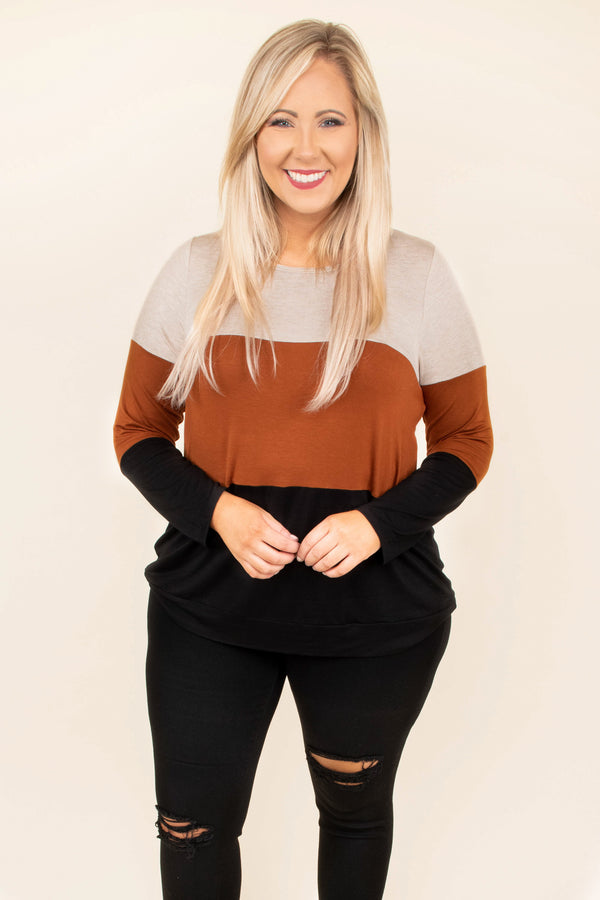 top, tan, camel, black, color block, comfy, cozy, long sleeve, fall, winter, thanksgiving, holidays