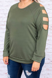 top, long sleeve, shoulder cutout, round neck, solid, neutral, olive, soft, fall