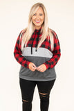 pullover, hood, long sleeves, drawstrings, red, black, plaid, gray, colorblock, comfy, cozy, fall, winter