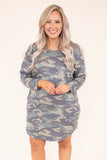 dress, long sleeve, short, curved hem, flowy, green, camo, comfy, fall, winter
