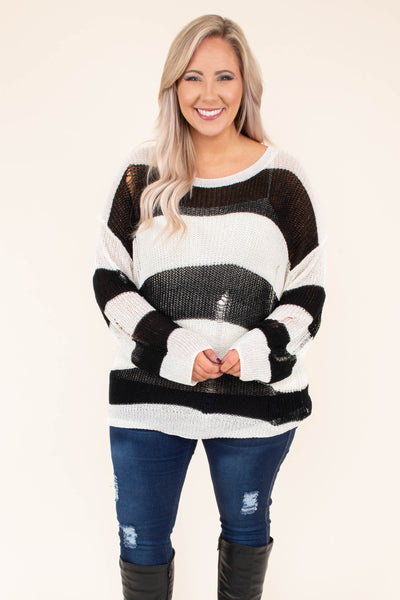 sweater, long sleeve, long, distressed, thin, black, white, striped, comfy, fall, winter