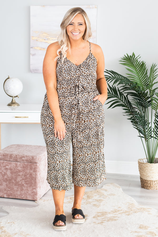 Make A Scene Jumpsuit, Brown