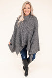 poncho, long sleeve, turtle neck, asymmetrical hem, gray, heathered, comfy, outerwear, fall, winter