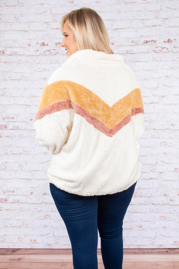 pullover, long sleeve, short, pocket, quarter zip, pullover, white, red, orange, chevron, comfy, outerwear, fall, winter