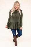 hoodie, long sleeve, hood, drawstrings, peplum, ruffle, flowy, olive, white, striped, comfy, thin, outerwear
