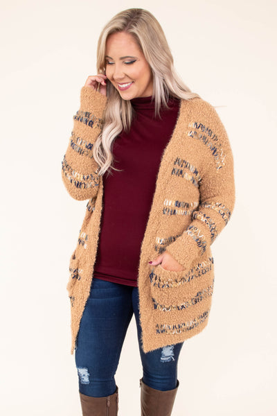 cardigan, long sleeve, long, pockets, fuzzy, camel, stitched details, comfy, fall, winter