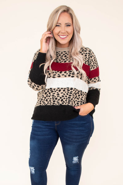 sweater, long sleeve, comfy, short, brown, black, burgundy, white, leopard, colorblock, fall, winter