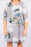 dress, short, three quarter sleeve, gray, white, blue, green, floral, flowy, comfy