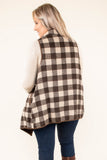 vest, sleeveless, asymmetrical hem, pockets, long, fold over front, fur lining, brown, tan, plaid, comfy, outerwear, fall, winter