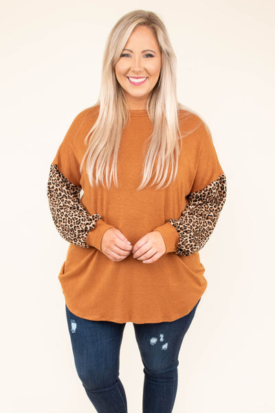 shirt, long sleeve, bubble sleeve, curved hem, rust, solid, leopard sleeves, dropped shoulder, comfy, fall, winter