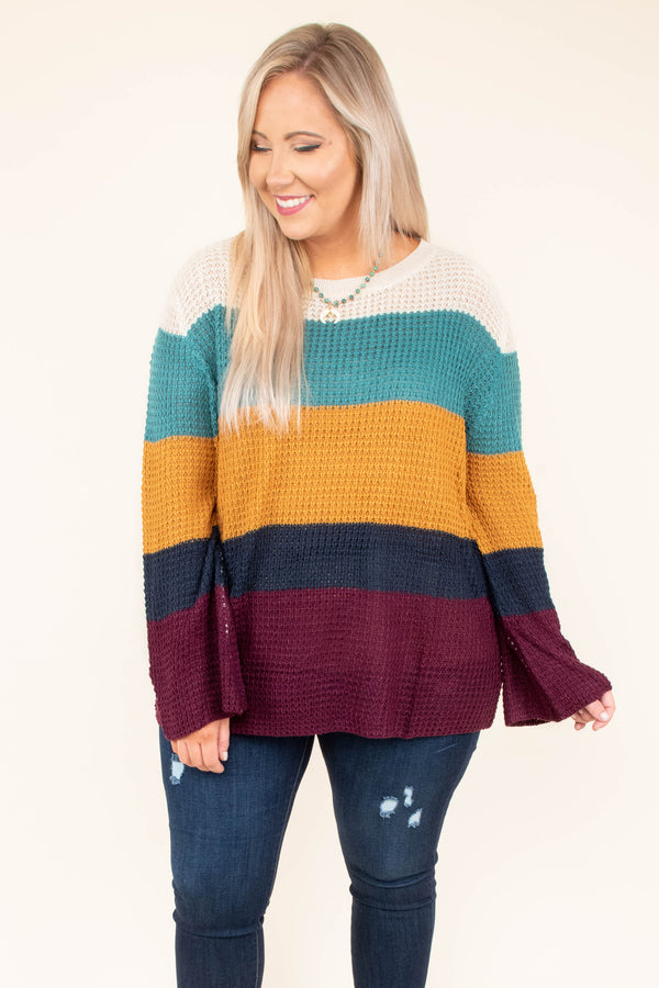 My Happy Look Sweater, Teal Multi