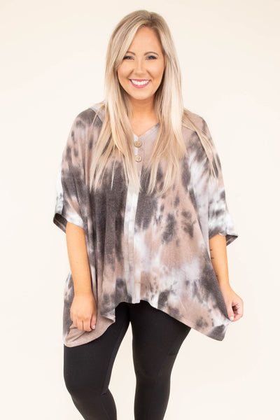 shirt, short sleeve, vneck, buttons, asymmetrical hem, flowy, longer back, taupe, brown, white, tie dye, comfy