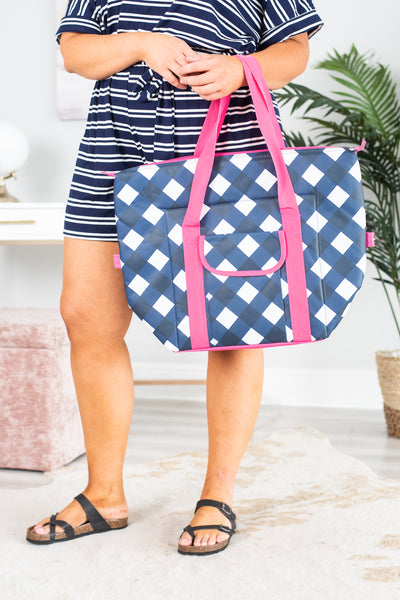 accessory, bag, blue, gingham, cooler, pink straps, exterior pockets, white