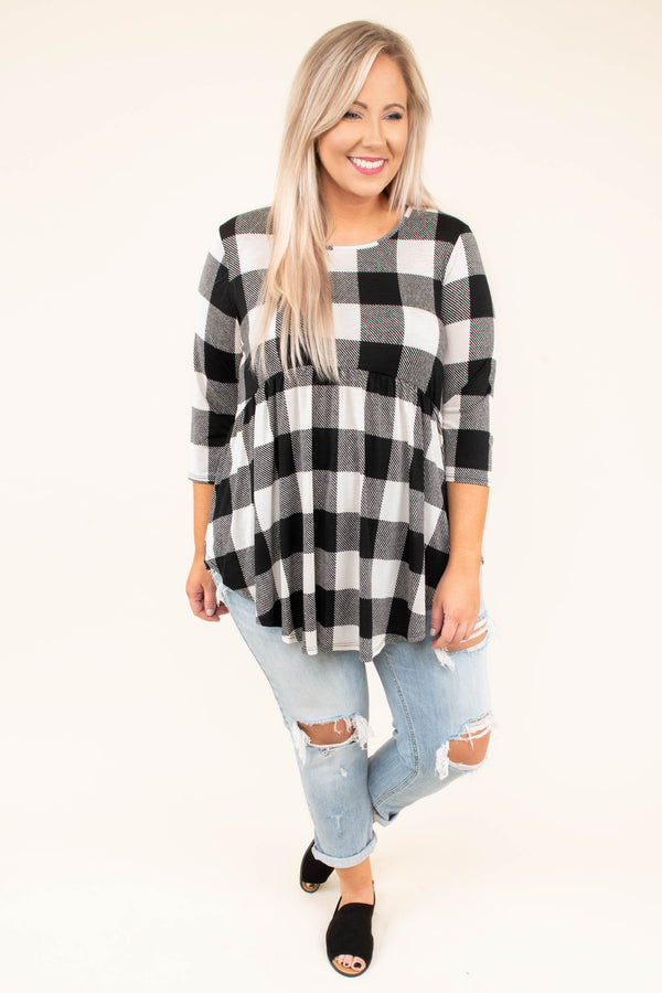 top, buffalo plaid, ivory, black, half sleeve, babydoll fit, flattering