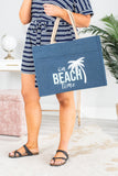 tote, bag, large, navy, on beach time, graphic, palm tree, tan handles, summer, snap closure