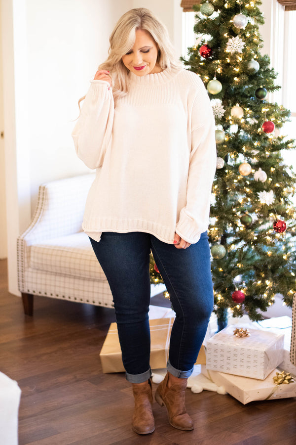 sweater, long sleeve, curled hems, short, flowy, oatmeal, comfy, fall, winter