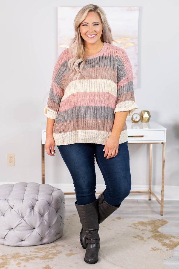 sweater, three quarter sleeve, cuffed sleeves, cable knit, pink, gray, brown, cream, striped, comfy, fall, winter