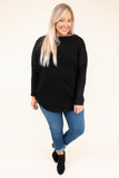 shirt, long sleeve, boat neck, black, solid, warm, fall, winter