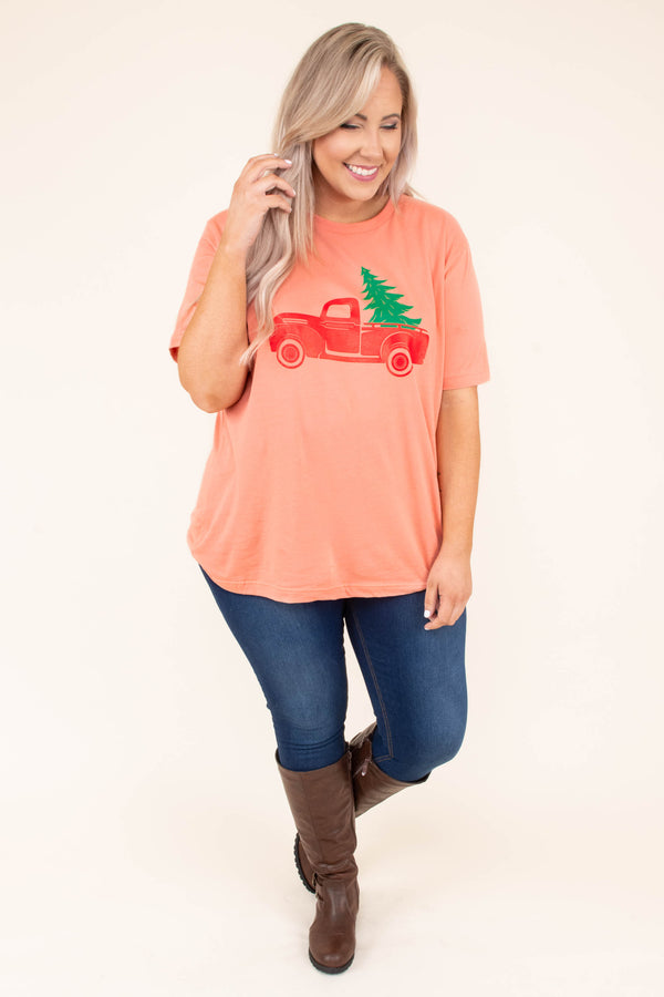 tshirt, short sleeve, orange, graphic, truck, christmas tree, red, green, christmas, winter, comfy