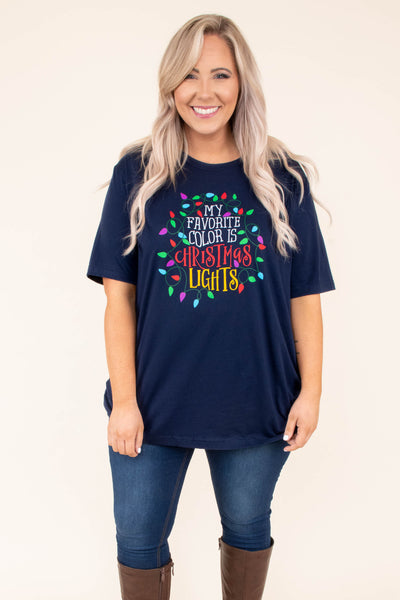 tshirt, short sleeve, loose, navy, graphic, my favorite color is christmas lights, yellow, red, white, green, purple, blue, christmas, winter