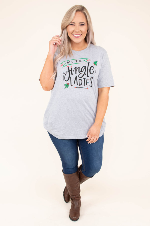 tshirt, short sleeve, loose, gray, graphic, all the jingle ladies, black, green, red, christmas, winter