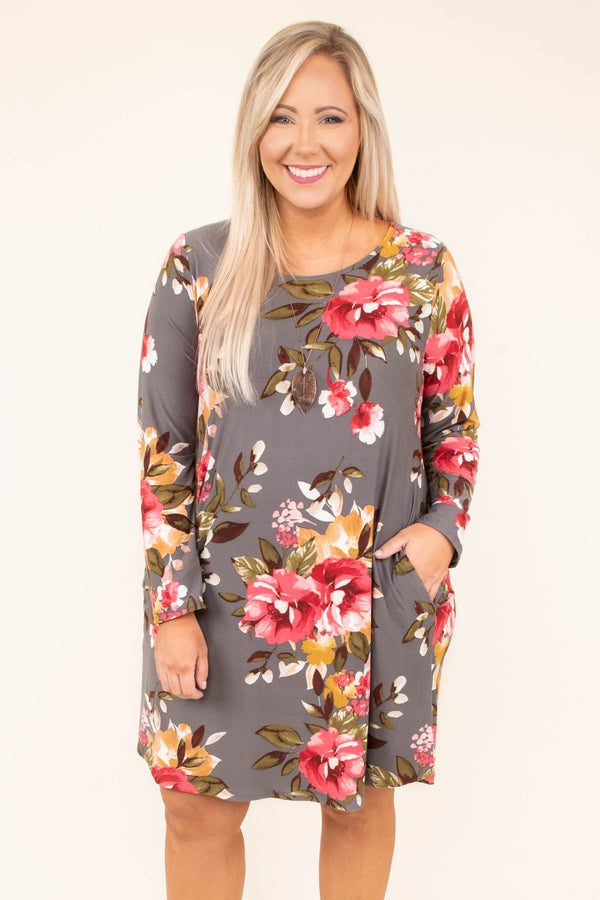 dress, short, long sleeve, pockets, flowy, gray, floral, red, green, yellow, white, comfy