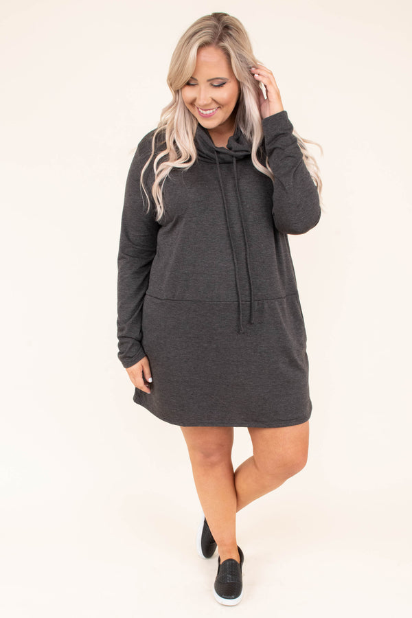 dress short, long sleeve, cowl neck, drawstring neck, pockets, flowy, comfy, charcoal, fall, winter