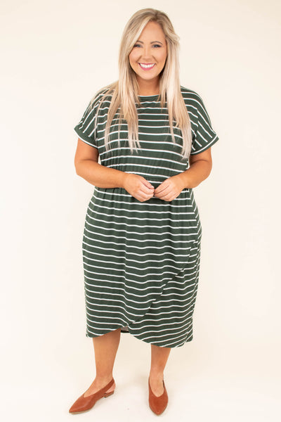 dress, midi, short sleeve, wrap skirt, asymmetrical hem, olive, white, striped, comfy, loose