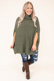 poncho, short sleeve, cowl neck, long, knitted, green, comfy, flowy, fall, winter