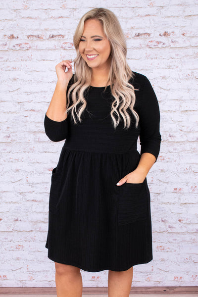 dress, short, three quarter sleeve, babydoll, pockets, textured, flowy, black, comfy