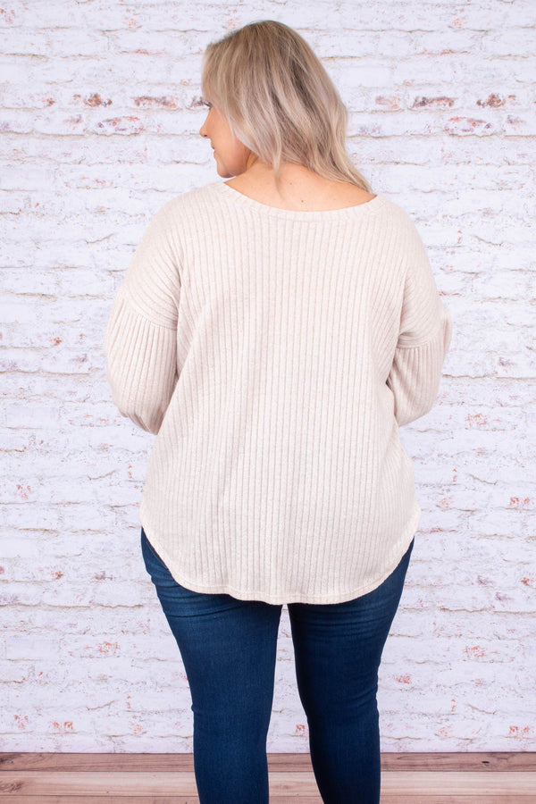shirt, long sleeve, bubble sleeve, curved hem, ribbed, loose, comfy, white, fall, winter