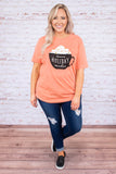 tshirt, short sleeve, loose, orange, graphic, coffee mug, warm holiday wishes, brown, white, comfy, winter