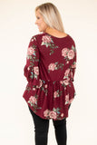 shirt, three quarter sleeve, bell sleeves, babydoll, curved hem, flowy, wine, floral, green, pink, white, comfy