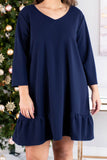 dress, short, three quarter sleeve, vneck, ruffle, flowy, keyhole back, navy, comfy, fall, winter