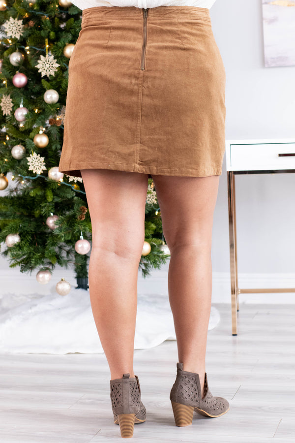 skirt, short, pockets, camel, comfy