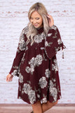 dress, short, long sleeve, bell sleeves, babydoll, tie sleeves, flowy, burgundy, floral, gray, comfy, fall, winter