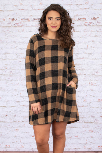 dress, plaid, mocha, black, long sleeve, short