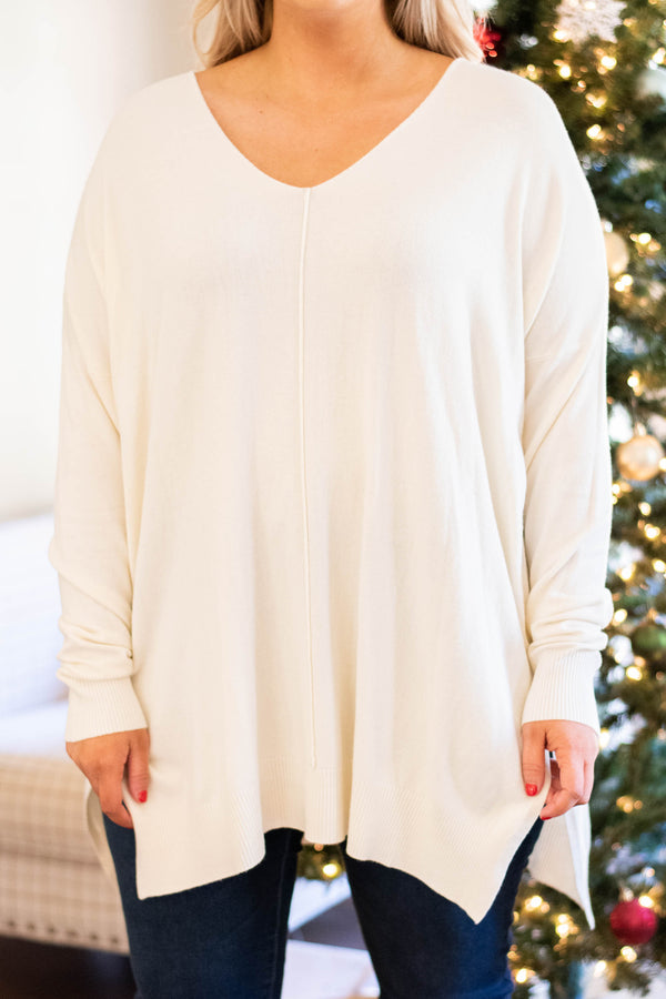 sweater, long sleeve, vneck, long, side slit, white, comfy, fall, winter