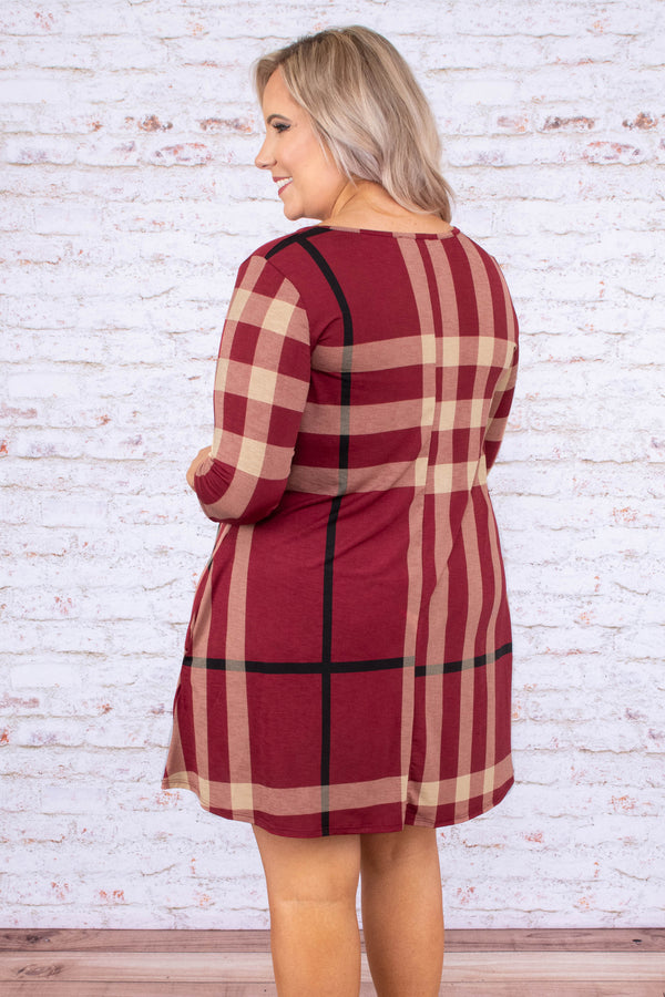 dress, short, three quarter sleeve, vneck, crisscross neckline, pockets, flowy, burgundy, black, tan, plaid, comfy, fall, winter