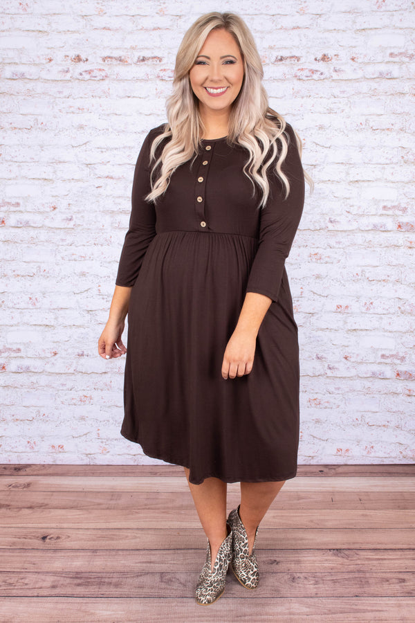 dress, midi, three quarter sleeve, pockets, babydoll, button top, flowy skirt, brown, comfy, fall, winter