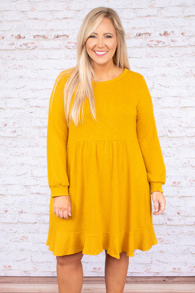 dress, short, long sleeve, bubble sleeve, flowy, mustard, comfy, fall, winter