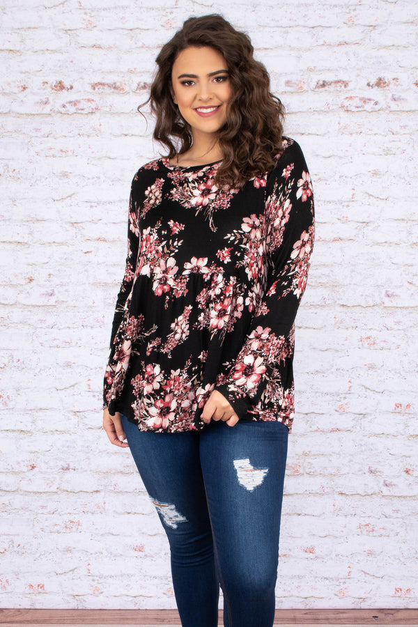 shirt, long sleeve, babydoll, curved hem, flowy, black, floral, red, white, comfy, fall, winter
