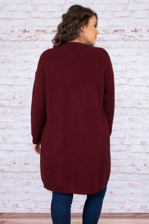 cardigan, long sleeve, long, pockets, flowy, burgundy, cross hatch hem, comfy, outerwear