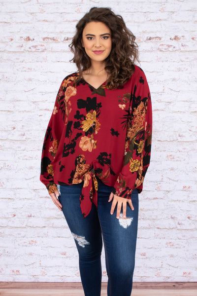shirt, long sleeve, vneck, tie front, bubble sleeve, short, burgundy, floral, mustard, black, green, comfy, fall, winter