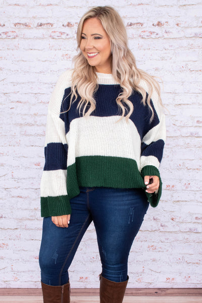 sweater, long sleeve, wide sleeves, short, flowy, white, navy, green colorblock, comfy, fall, winter